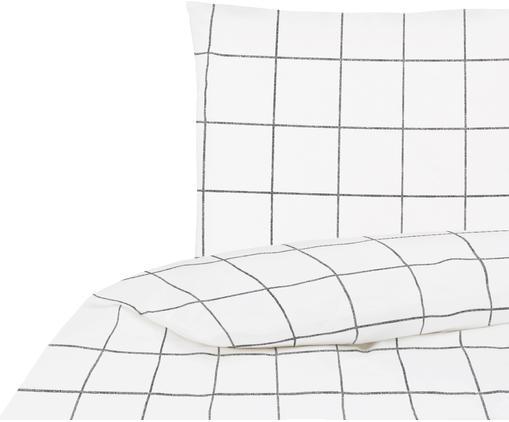 Parure copripiumino in percalle Juna, Tessuto: percalle, Bianco, nero, 155 x 200 cm