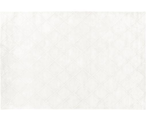 Tapis en viscose crème/carreaux tufté à la main Madelaine, Crème
