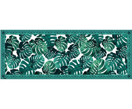 Tappetino in vinile Monstera, Vinile riciclabile, Verde, bianco, Larg. 68 x Lung. 180 cm