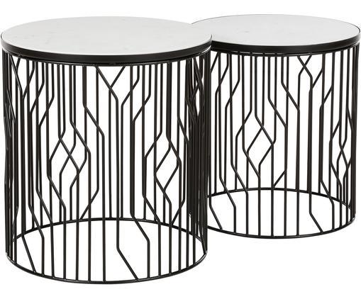 Set 2 tavolini in marmo Emerson, Ripiani: pietra naturale di marmo, Struttura: metallo verniciato a polv, Ripiani: marmo bianco-grigiastro Struttura: nero opaco, Diverse dimensioni