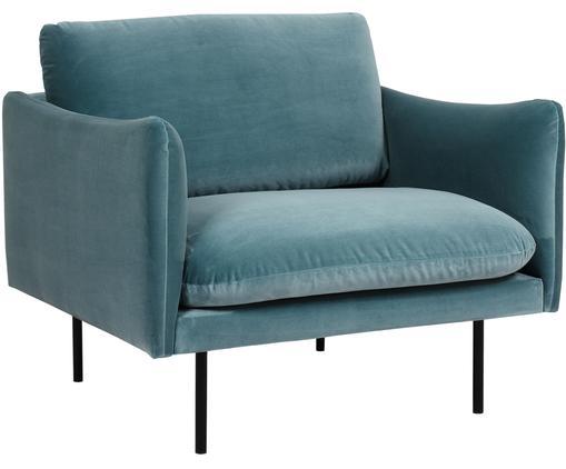 Fotel z aksamitu Moby, Tapicerka: aksamit (wysokiej jakości, Stelaż: lite drewno sosnowe, Nogi: metal malowany proszkowo, Turkusowy aksamit, S 90 x G 90 cm
