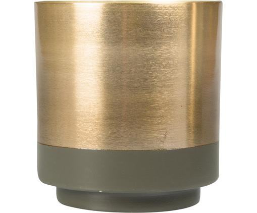 Übertopf Aria, Stahl, teilweise lackiert, Goldfarben, Grün, Ø 10 x H 11 cm