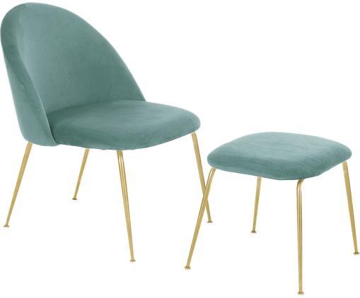 Samt-Lounge-Set Villum, 2-tlg., Bezug: Samt (Polyester) 25.000 S, Füße: Metall, gebürstet, Bezug: Samt (Polyester) 25.000 S, Füße: Metall, gebürstet, Samt Türkis, Sondergrößen