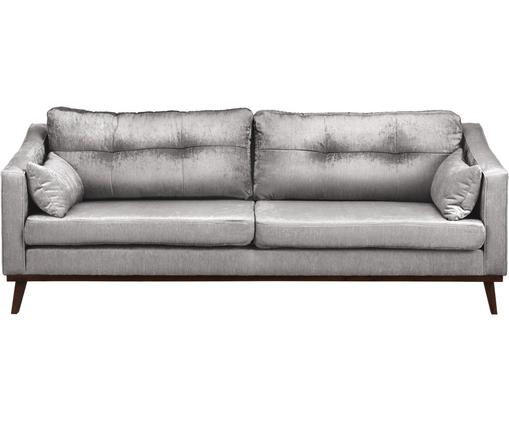 Samt-Sofa Almana (3-Sitzer), Rahmen: Massivholz, Buche, Kiefer, Beine: Massivholz, Buche, Bezug: 100% Polyester, Grau, 216 x 81 cm