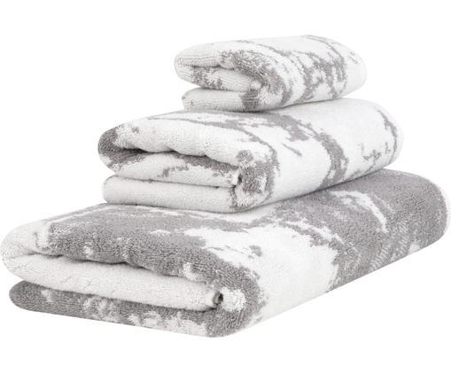 Set 3 asciugamani con motivo effetto marmo Marmo, Grigio, bianco crema, Diverse dimensioni
