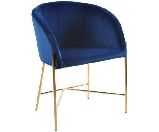 Chaise moderne en velours rembourré, à accoudoirs Nelson, Bleu foncé, couleur laitonnée