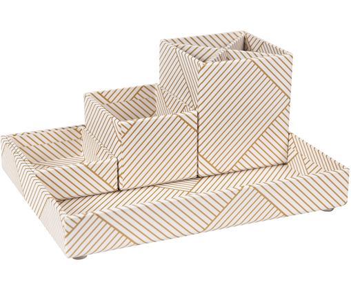 Komplet organizerów biurowych, 4 elem., Tektura laminowana, Odcienie złotego, biały, Różne rozmiary