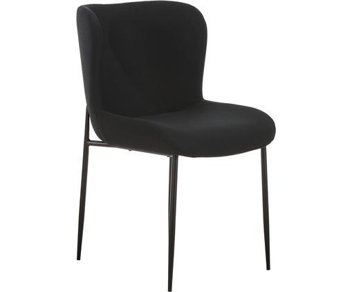 Chaise rembourrée noire Tess, Tissu noir, pieds noirs