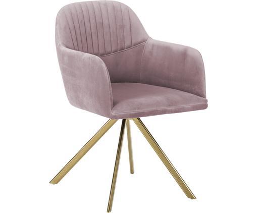Krzesło obrotowe z aksamitu z podłokietnikami Lola, Tapicerka: aksamit (100% poliester) , Nogi: metal galwanizowany, Blady różowy, S 52 x G 57 cm