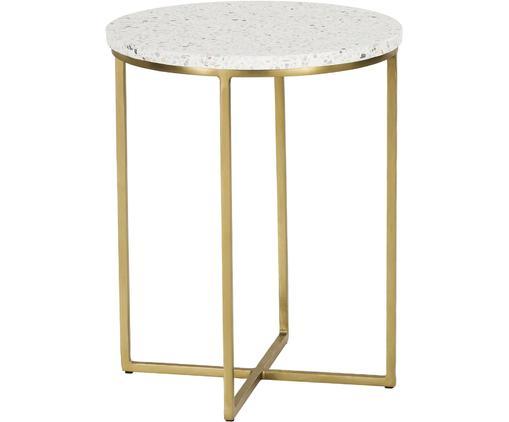 Terrazzo-Beistelltisch Paloma, Tischplatte: Terrazzo, Gestell: Metall, beschichtet, Tischplatte: Weißer TerrazzoGestell: Goldfarben, glänzend, Ø 42 x H 50 cm