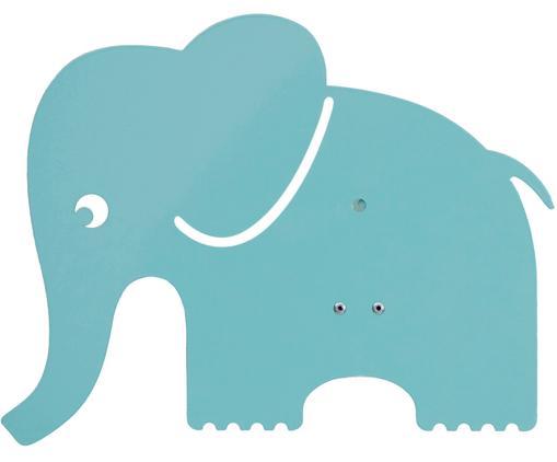 Wandleuchte Elephant mit Stecker, Metall, pulverbeschichtet, Pastellblau, 33 x 29 cm
