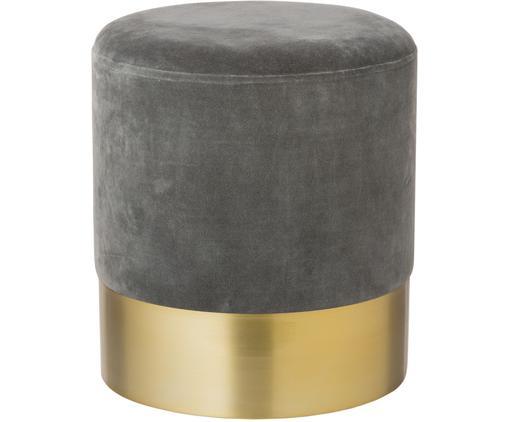 Samt-Hocker Harlow, Bezug: Baumwollsamt, Fuß: Eisen, pulverbeschichtet, Grau, Goldfarben, Ø 38 x H 42 cm