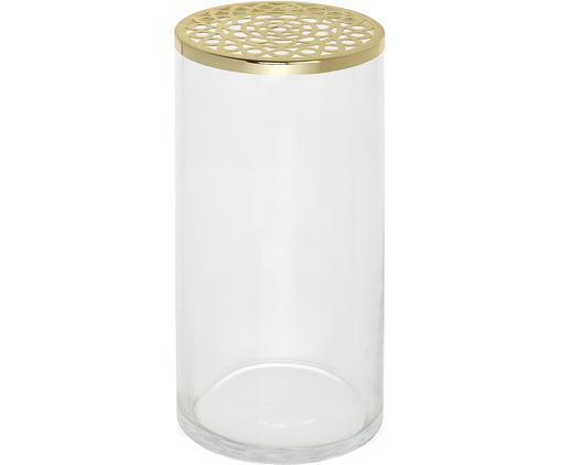 Glas-Vase Julia mit Metalldeckel, Deckel: Metall, beschichtet, Vase: Glas, Goldfarben, Transparent, 12 x 17 cm