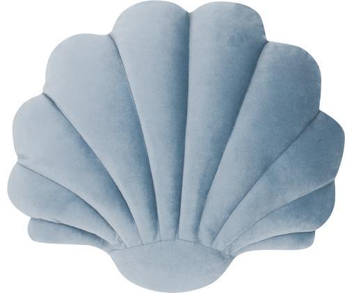 Samtkissen Shell, Vorderseite: 100% Polyestersamt, Rückseite: 100% Baumwolle, Hellblau, 28 x 30 cm