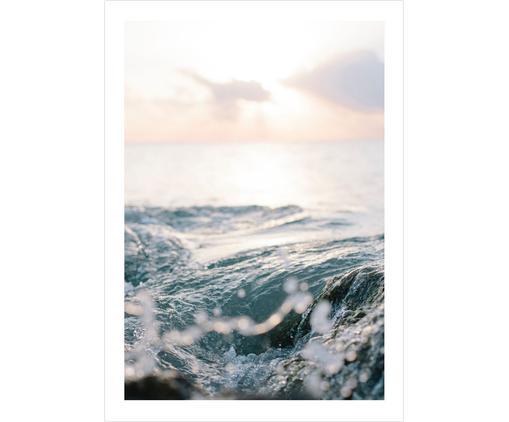 Plakat Ocean, Druk cyfrowy na papierze, matowy 180 g/m², Odcienie niebieskiego, odcienie beżowego, S 21 x W 30 cm