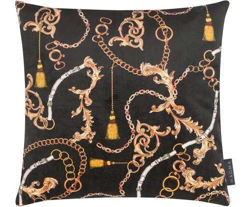 Samt-Kissenhülle Deluxe Chains, Polyestersamt, bedruckt, Schwarz, Gelb, Orange, Weiß, 40 x 40 cm
