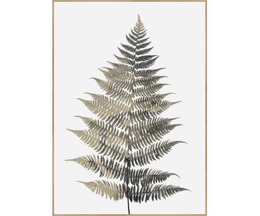 Gerahmter Digitaldruck Fern One, Bild: Digitaldruck auf Papier (, Rahmen: Hochdichte Holzfaserplatt, Grüntöne, Weiß, 50 x 70 cm