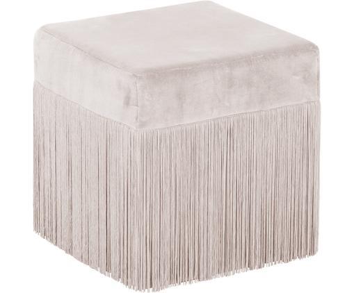 Puf z frędzlami Alison, Tapicerka: aksamit bawełniany, Szampański, S 40 x W 40 cm