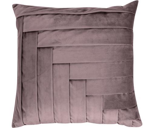 Cuscino in velluto Kinga, con imbottitura, Rivestimento: velluto di poliestere, Rosa, Larg. 45 x Lung. 45 cm