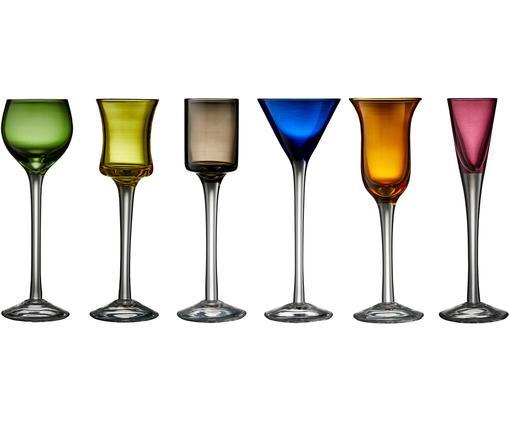 Ensemble de verres à liqueur soufflés bouche Lyngby, 6élém., Vert, bleu, brun, jaune, lilas, orange