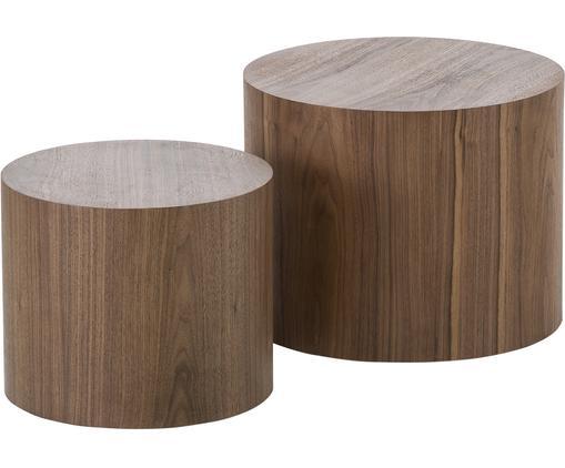 Tables d'appoint en bois Dan, 2élém., Aspect noyer