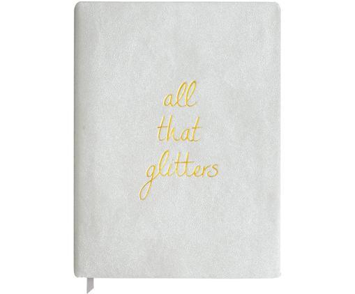 Notizbuch All that Glitters, Kunststoff (Polyurethan), Papier, Silberfarben, Goldfarben, 18 x 24 cm