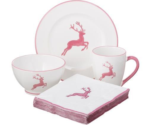 Serwis Rosa Gourmet Hirsch, 4 elem., Ceramika, Różowy, biały, Różne rozmiary
