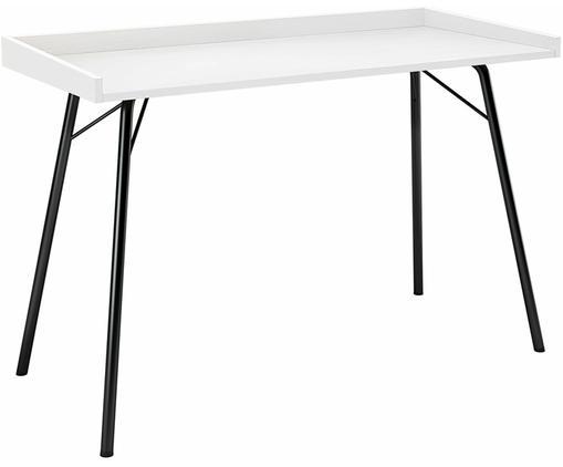 Schreibtisch Rayburn mit Weisser Platte, Tischplatte: Mitteldichte Holzfaserpla, Gestell: Metall, pulverbeschichtet, Weiss, B 115 x T 52 cm