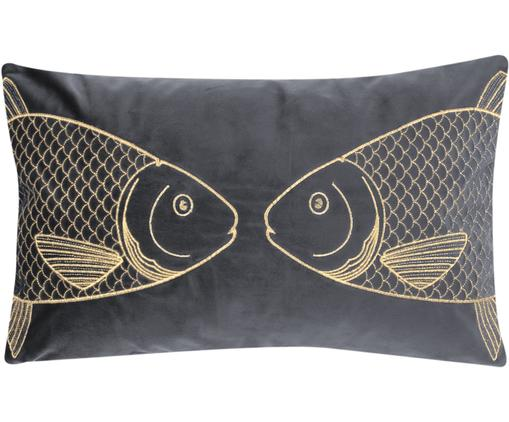 Dunkelgraue Samt-Kissenhülle Caja mit goldener Stickerei, 100% Polyestersamt, Dunkelgrau, 30 x 50 cm