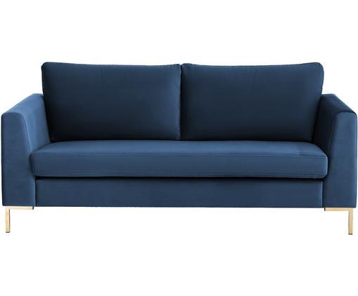 Samt-Sofa Luna (2-Sitzer), Bezug: Samt (Polyester) 80.000 S, Gestell: Massives Buchenholz, Füße: Metall, galvanisiert, Blau, B 172 x T 95 cm