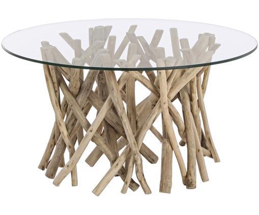 Couchtisch Samira mit Teakholzästen, Tischplatte: Gehärtetes Glas, Gestell: Teakholz, gebleicht und g, Tischplatte: TransparentGestell: Teakholz, gebleicht, Antik-Finish, B 80 x T 80 cm