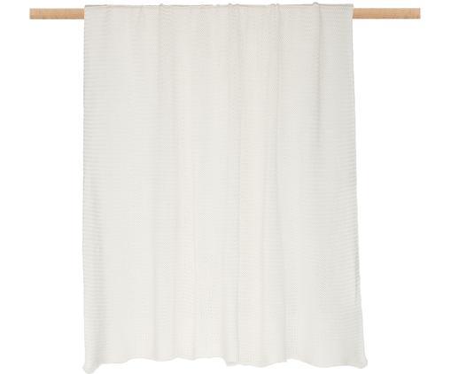 Plaid in cucitura a maglia Adalyn, 100% cotone, Bianco naturale, Larg. 150 x Lung. 200 cm