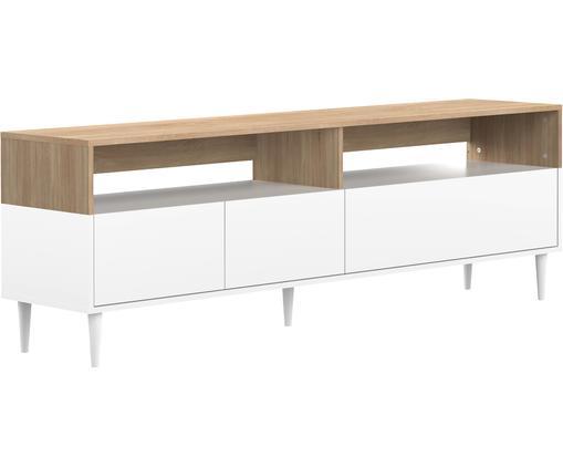 TV-Lowboard Horizon im Skandi Design, Korpus: Spanplatte, melaminbeschi, Füße: Buchenholz, massiv, lacki, Eichenholz, Weiß, 180 x 61 cm