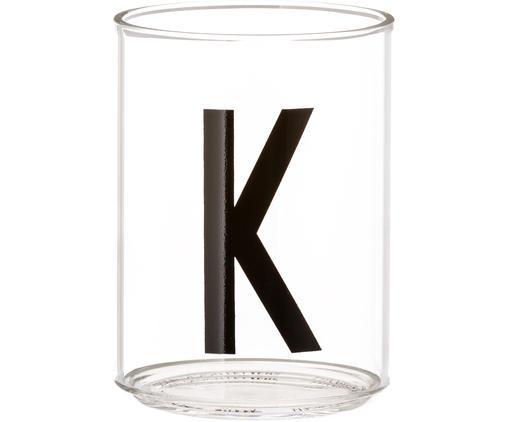Vasos con letra Personal (variantes de A a Z), Vidrio de borosilicato, Transparente, negro, Vaso K