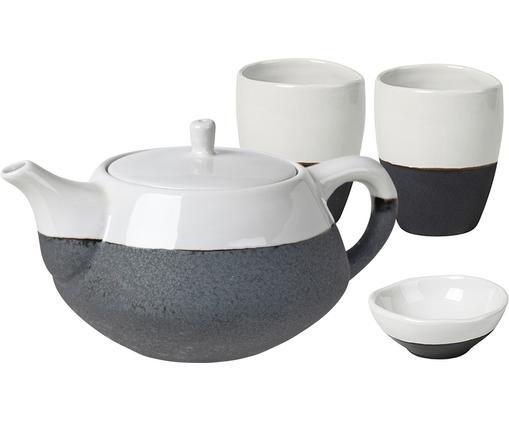 Handgemachtes Teeservice Esrum matt/glänzend, 4-tlg., Unten: Steingut, naturbelassen, Elfenbeinfarben, Schwarz, Sondergrößen