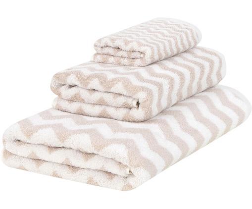 Set 3 asciugamani con motivo a zigzag Liv, Sabbia, bianco crema, Diverse dimensioni