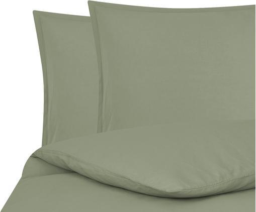 Pościel z lnu z efektem sprania Breeze, 52% len, 48% bawełna Z efektem stonewash zapewniającym miękkość w dotyku, Oliwkowy zielony, 240 x 220 cm