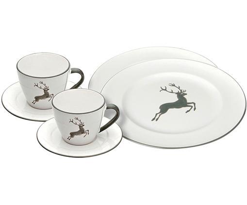Servizio da caffè Gourmet Grauer Hirsch 6 pz, Ceramica, Grigio, bianco, Diverse dimensioni