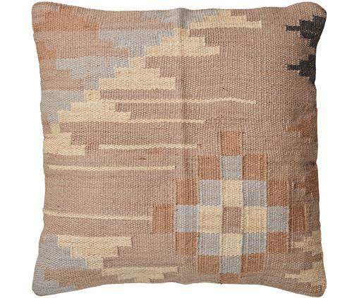 Cuscino da pavimento imbottito Kelissia, Rivestimento: 70%lana, 30%juta, Brunastro, beige, blu, Larg. 60 x Lung. 60 cm