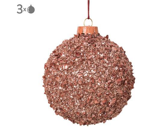 Weihnachtskugeln Cinna, 3 Stück, Glas, Metall, Rosa, Ø 8 cm