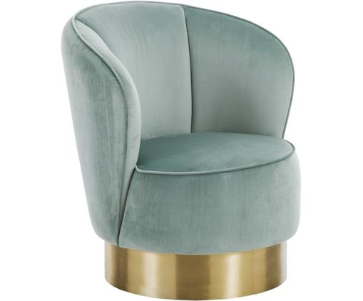Fluwelen fauteuil Olivia, Bekleding: fluweel (polyester), Voet: gecoat metaal, Saliekleurig, B 74 x D 73 cm