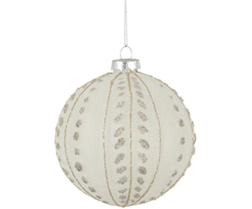 Palla di Natale Liora, 2 pz., Bianco latteo, dorato, Ø 10 cm