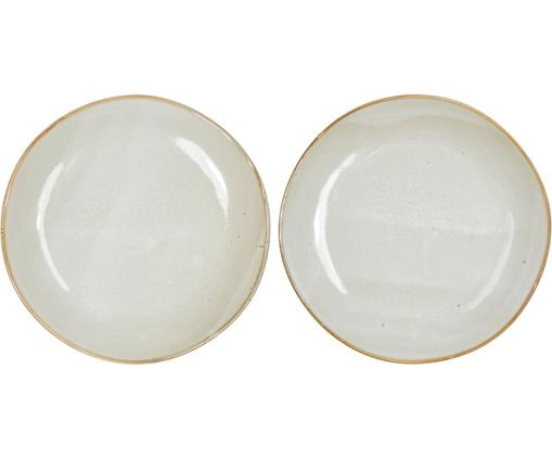 Piatto da colazione fatto a mano Thalia 2 pz, Ceramica, Crema con bordo scuro, Ø 22 cm