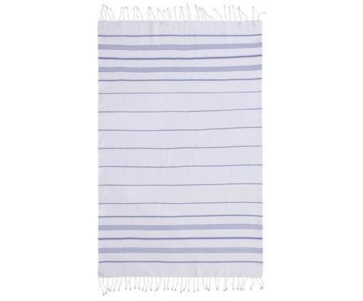 Fouta Mykonos, Bawełna, Bardzo niska gramatura, 145 g/m², Niebieski, biały, S 100 x D 200 cm