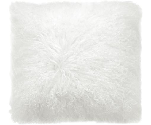 Federa arredo in pelliccia d'agnello a pelo lungo Ella, Retro: 100% poliestere, Bianco naturale, Larg. 50 x Lung. 50 cm