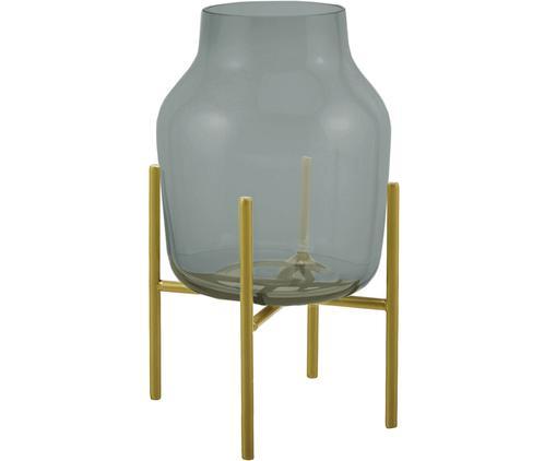 Glas-Vase Lars mit Metallgestell, Vase: Glas, Gestell: Metall, pulverbeschichtet, Vase: Grün, transparentGestell: Goldfarben, matt, Ø 17 x H 30 cm