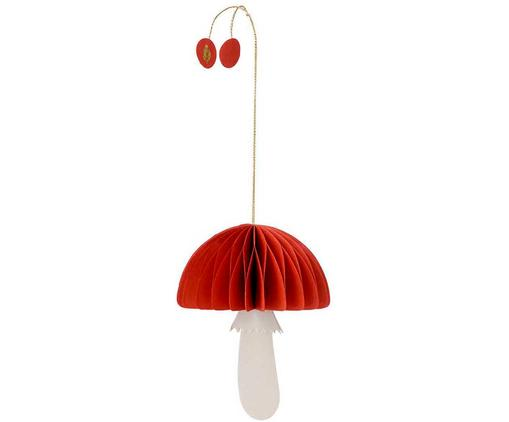 Baumanhänger Mushroom, 2 Stück, Papier, Rot, Weiß, Ø 5 x H 12 cm