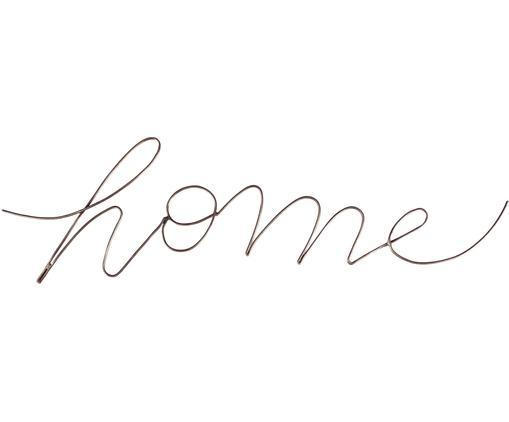 Handgefertigtes Wandobjekt Home mit Antik-Finish, Stahl, beschichtet, Messing, 13 x 1 cm