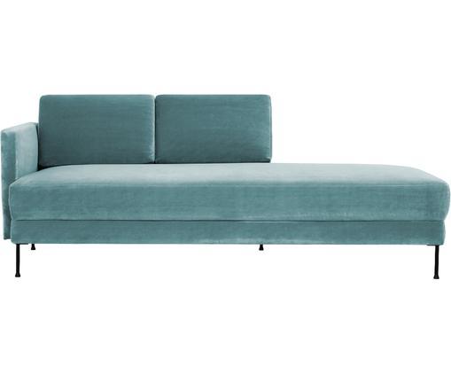 Fluwelen chaise longue Fluente, Bekleding: fluweel (hoogwaardig poly, Frame: massief grenenhout, Poten: gelakt metaal, Turquoise, B 201 x D 83 cm