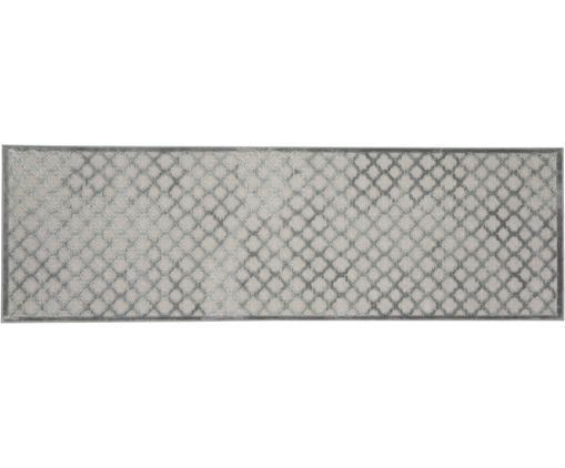 Viskoseläufer Bryon in Grau mit Hoch-Tief-Muster, Flor: Viskose, Grau, 80 x 250 cm